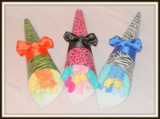 Baby Boy, Girl, Or Neutral Zebra/Leopard Print Washcloth Bouquets