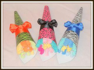 Baby Boy, Girl, Or Neutral Zebra/Leopard Print Washcloth Bouquets