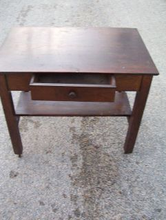 Mission Style Library Table Great Oak Desk w Drawer Leg Roller