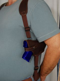 Barsony Brown Leather Shoulder Holster w Double Magazine for Kahr K9