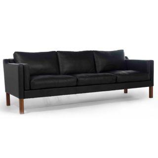 Mogensen Black Leather Sofa Loveseat