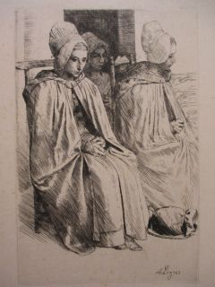 ALPHONSE LEGROS FRANCE UNITED KINGDOM ATQ ETCHING PEASANT WOMAN