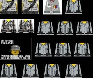 Lego WW2 German Soldiers Sticker Decals light grey 16 custom