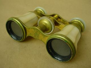 Lemaire Paris Beautiful 1880s Mother of Pearl Pocket Opera Glasses