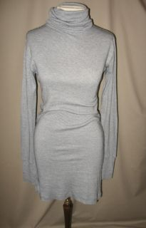Christina Lehr Blue White Stripe Knit Turtleneck Cotton Dress Sz Small