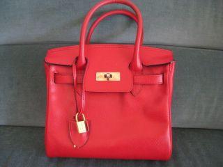 Lederer de Paris Small Red Caviar Leather Bag New