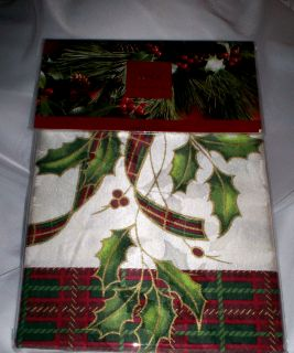 Lenox Christmas Holiday Nouveau 20P Shower Curtain Liner Rug Hooks