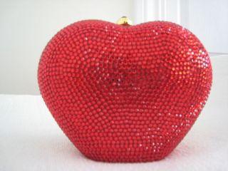 Judith Leiber Swarovski Crystals Red Heart Purse New