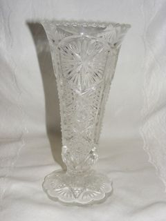 Vintage Pressed Glass Vase Scalloped Rim Base Daisy N Button Imperial
