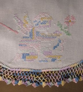 Embroidered Vintage Dresser Scarf Runner Crochet Edge Cherubs Hearts