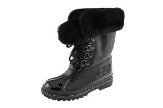 Coach NEW Leonora Black Faux Fur Fold Over Lace Up Pac Boots Winter