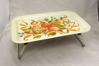 VINTAGE LAP TV BED METAL TRAY FOLDING LEGS CREAM WITH FRUIT APPLE