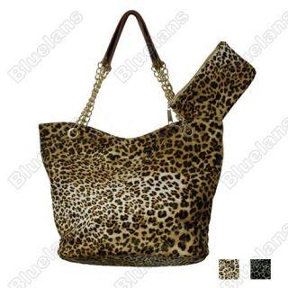 Women Leopard Grain Print Design Handbag Shoulder Tote Bag Small Bag
