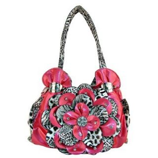 Hot Pink and Leopard Print Handbag Purse Zebra Bling Rhinestone