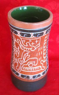 Vintage Mexican Folk Art Tribal Vase Signed Leopoldo