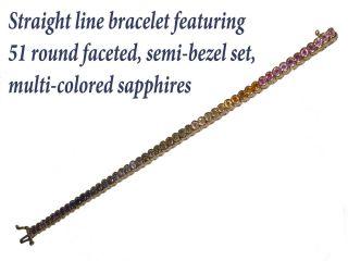 77 CTW Multi Colored Sapphire Bracelet Set in 14k Gold