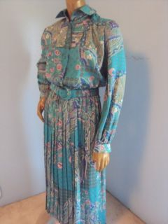 LESLIE FAY VINTAGE 70S L 12 BLUES FLORAL LONG SLEEVE FULL LENGTH