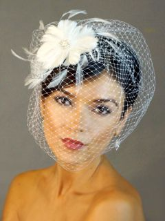 Ivory PEARL RHINESTONE Fascinator Feather Clip BIRDCAGE Bridal VEIL 21