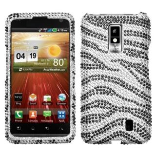 For LG Spectrum Crystal Diamond Bling Case Snap on Phone Cover Zebra