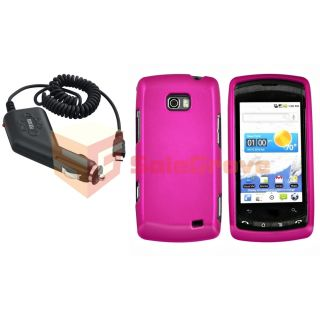 Hot Pink Hard Case Cover Car Charger for LG Ally VS740