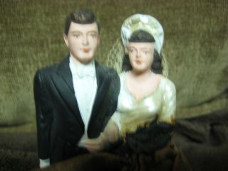 Vintage 1948 Levinsohn Wedding Cake Topper Bride Groom Chalkware