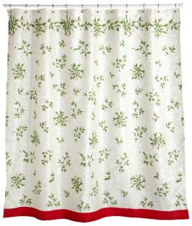 20P Lenox Christmas Holiday Set Shower Curtain Hooks 1BATH 2HAND