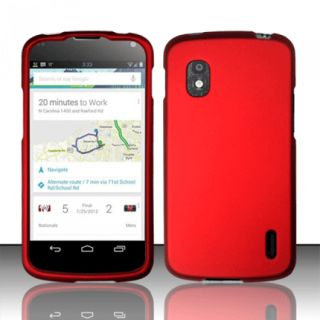 for LG Nexus 4 RUBBER RED FACEPLATE PROTECTIVE HARD COVER CASE PHONE