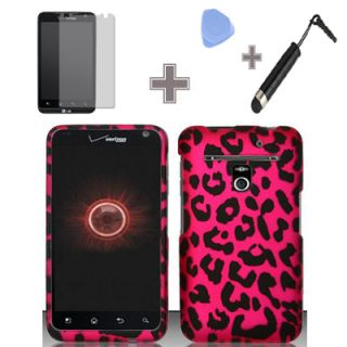 LG Revolution 4G Esteem Verizon MetroPCS Rubber Pink Leopard Hard Case