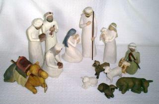 13 Pc Willow Tree Nativity Shepherd Stable Animals Wisemen PLUS 3