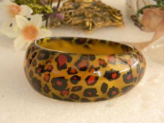 Cheetah Animal Print Leopard Chunky Bangle Bracelet