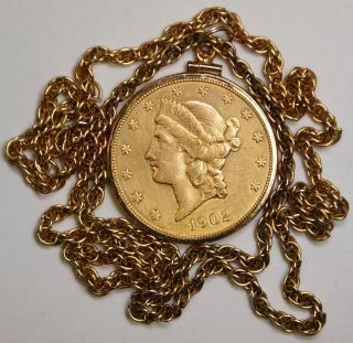1902 s Liberty $20 Gold Double Eagle 14kt Necklace Coin Jewelry
