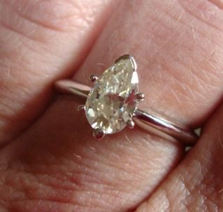 Pear Moissanite Solitaire Engagement Ring 14k White Gold Sz 6 5