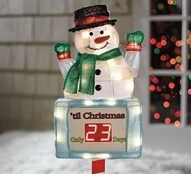 Christmas Countdown Snowman Lighted Digital Clock Yard Decor