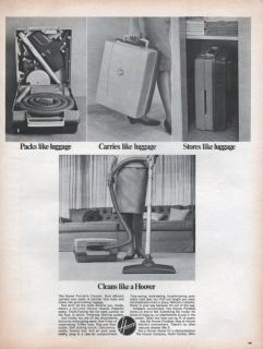 Hoover Portable Vacuum Cleaner Like Luggage 1967 Vintage Magazine