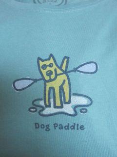 Life Is Good SS Crusher Tee Dog Paddle Rocket Boat Aqua Women