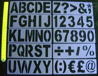SET 10 LARGE STENCILS ALPHABET LETTERS A Z NUMBERS SYMBOLS GIANT HUGE