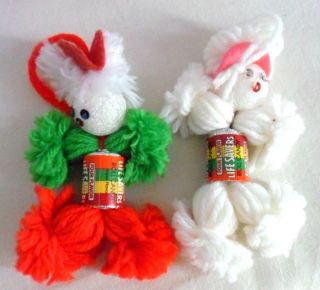 Life Saver Ornament Poodle Dog Candy Roll Body Yarn Head Legs 3 Yarn