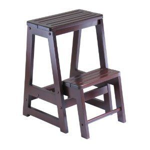 Folding Wood Step Stool with Two Levels Antique Walnut Finish