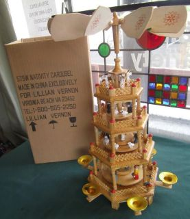 LILLIAN VERNON WOODEN 4 TIER CHRISTMAS NATIVITY SPINNING CAROUSEL