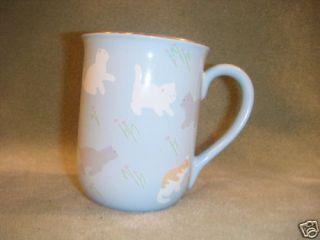 Otagiri Kitty Cat Kittens Cats on Blue Mug Cup Liliane Baron