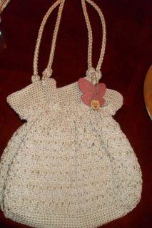 Lina Brand Crochet Beige Color Snap Closure Purse Organizer Pockets