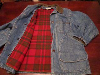 Vtg LL Bean Freeport Womens Made In USA Wool Lined Denim Barn Coat