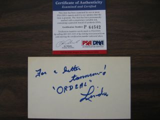 Linda Lovelace Signed Insc 3x5 Index Card PSA DNA