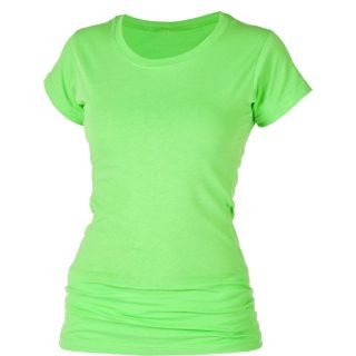 Neon Lime Green T Shirt 100 Cotton Women Casual Short Sleeve Top
