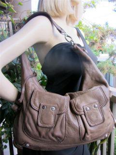 Linea Pelle Collection Handmade Lamb Leather Hobo Bag Khaki Brown