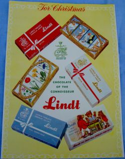1954 Lindt Chocolates Teddy Bear Tablet Box Canada Ad Three Little