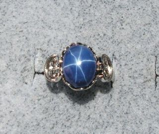 Linde Lindy CF Blue Star Sapphire Created Rhod Plated Nonprecious