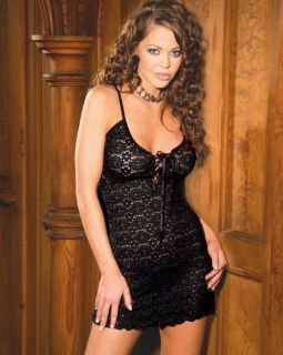 Sexy Black Lace Exotic Intimate Mini Dress Lingerie Set