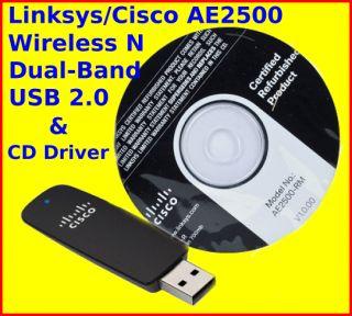 Linksys / Cisco AE2500 Wireless N WiFi Dual Band 300Mbps USB Adapter w
