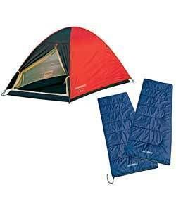 Lichfield 2 Person Festival Camping Tent Set Sleep Bags